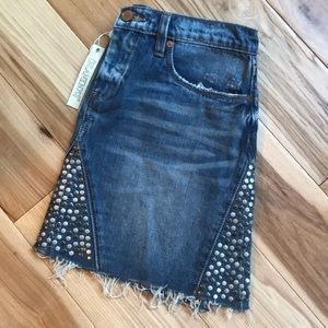 Blank NYC studded and frayed jean skirt